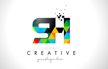 sh: SH S H Letter Logo with Colorful Vivid Triangles Texture Design Vector Illustration.