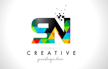 SN SN Letter Logo Met Kleurrijke Levendige Driehoeken Textuur Ontwerp Vector Illustratie.