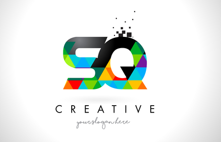 SQ S Q Letter Logo with Colorful Vivid Triangles Texture Design Vector Illustration.