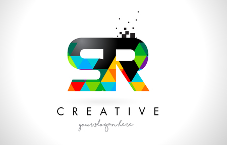 SR S R Letter Logo with Colorful Vivid Triangles Texture Design Vector Illustration.