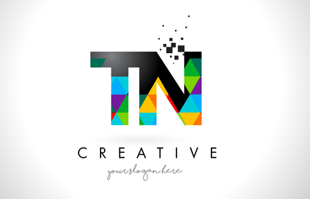 tn: TN T N Letter Logo with Colorful Vivid Triangles Texture Design Vector Illustration. Illustration