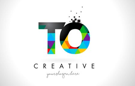 TO T O Letter Logo with Colorful Vivid Triangles Texture Design Vector Illustration.