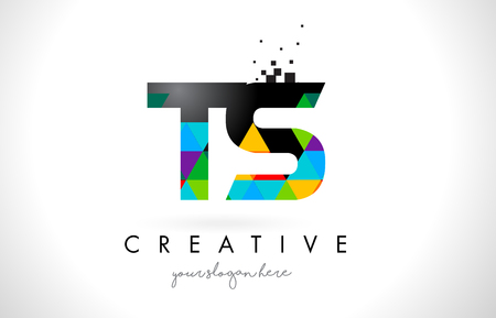 TS T S Letter Logo with Colorful Vivid Triangles Texture Design Vector Illustration.