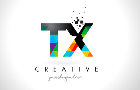 tx: TX T X Letter Logo with Colorful Vivid Triangles Texture Design Vector Illustration.