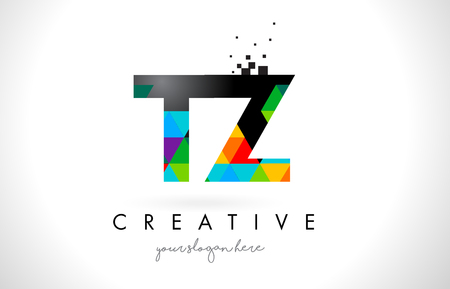 TZ T Z Letter Logo with Colorful Vivid Triangles Texture Design Vector Illustration.