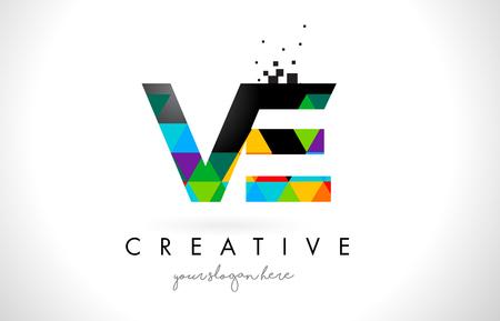 カラフルな鮮やかな三角形テクスチャ デザイン ベクトル図と VE V E 文字ロゴ。