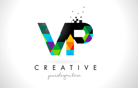 VP V P Letter Logo with Colorful Vivid Triangles Texture Design Vector Illustration.