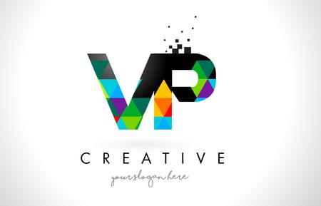 vp: VP V P Letter Logo with Colorful Vivid Triangles Texture Design Vector Illustration.