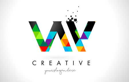 vw: VW V W Letter Logo with Colorful Vivid Triangles Texture Design Vector Illustration.