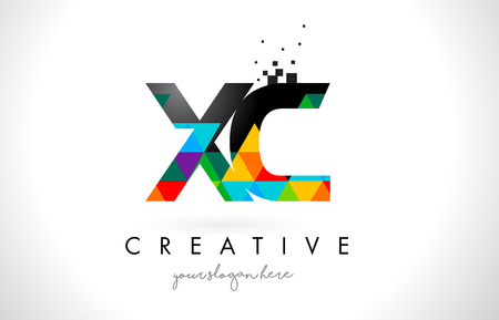 XC X C Letter Logo with Colorful Vivid Triangles Texture Design Vector Illustration. Illustration