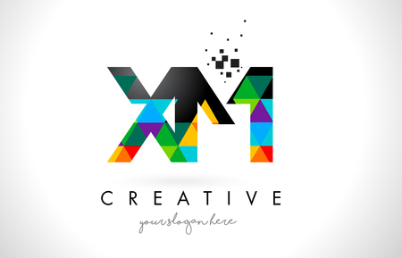 xm: XM X M Letter Logo with Colorful Vivid Triangles Texture Design Vector Illustration. Illustration