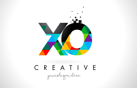 XO X O Letter Logo with Colorful Vivid Triangles Texture Design Vector Illustration. Illustration