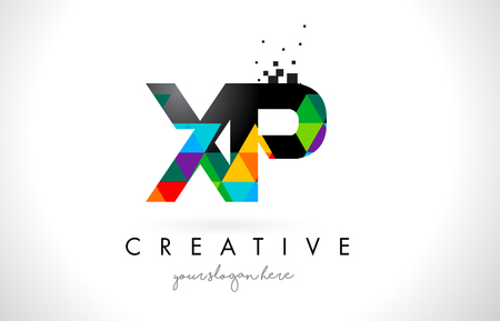 XP X P Letter Logo with Colorful Vivid Triangles Texture Design Vector Illustration. Illustration