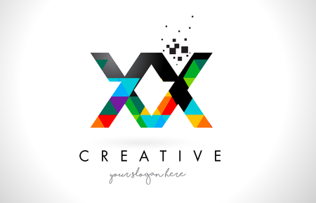 XX X X Letter Logo with Colorful Vivid Triangles Texture Design Vector Illustration.
