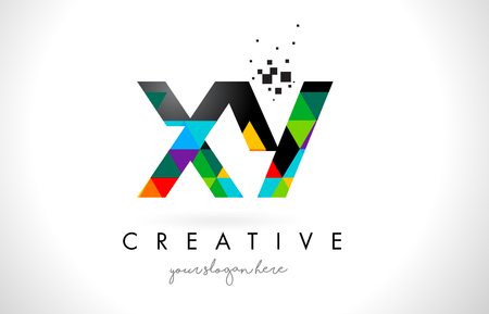 xy: XY X Y Letter Logo with Colorful Vivid Triangles Texture Design Vector Illustration.
