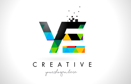 e business: YE Y E Letter Logo with Colorful Vivid Triangles Texture Design Vector Illustration. Illustration