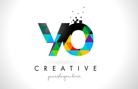 YO Y O Letter Logo with Colorful Vivid Triangles Texture Design Vector Illustration.