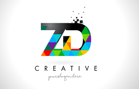 ZD Z D Letter Logo with Colorful Vivid Triangles Texture Design Vector Illustration. Illustration