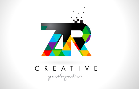 ZR Z R Letter Logo with Colorful Vivid Triangles Texture Design Vector Illustration.