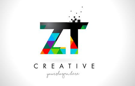 Renkli Canlı Üçgenli ZT ZT Mektup Logo Doku Dizayn Vektör İlüstrasyonu.