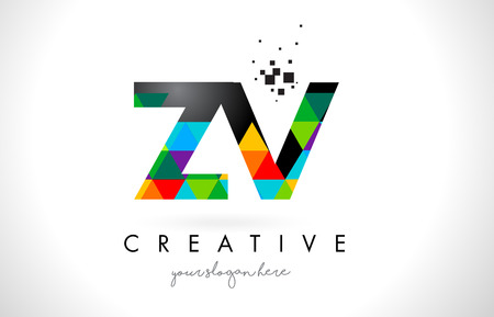 ZV Z V Letter Logo with Colorful Vivid Triangles Texture Design Vector Illustration.