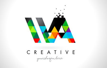 WA W A Letter Logo with Colorful Vivid Triangles Texture Design Vector Illustration.