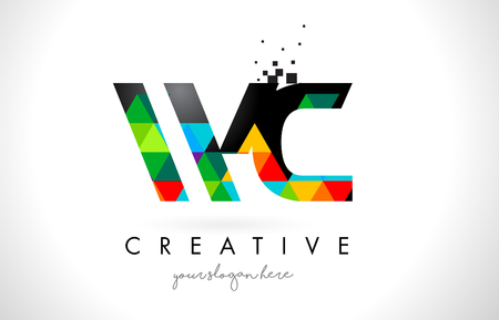 w c: WC W C Letter Logo with Colorful Vivid Triangles Texture Design Vector Illustration. Illustration