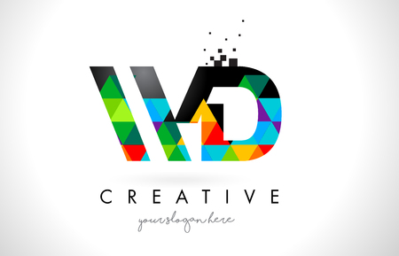 WD W D Letter Logo with Colorful Vivid Triangles Texture Design Vector Illustration.