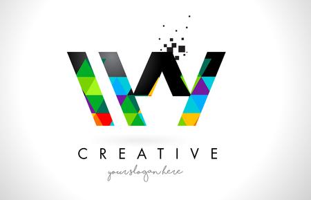 와우 WY 편지 로고 다채로운 선명한 삼각형 질감 디자인 벡터 일러스트 레이 션.