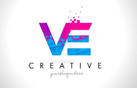 VE V E Letter Logo with Broken Shattered Blue Pink Triangles Texture Design Vector Illustration.