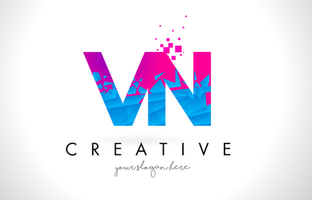 VN V N Letter Logo with Broken Shattered Blue Pink Triangles Texture Design Vector Illustration.