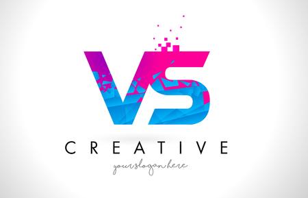 VS V S Letter Logo with Broken Shattered Blue Pink Triangles Texture Design Vector Illustration.