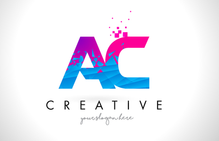 AC A C Letter Logo with Broken Shattered Blue Pink Triangles Texture Design Vector Illustration.