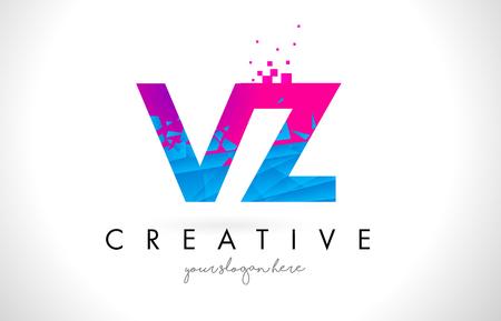VZ V Z Letter Logo with Broken Shattered Blue Pink Triangles Texture Design Vector Illustration. Logó