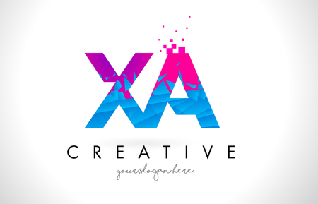XA X A Letter Logo with Broken Shattered Blue Pink Triangles Texture Design Vector Illustration.