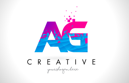 AG A G Letter Logo with Broken Shattered Blue Pink Triangles Texture Design Vector Illustration. Illustration