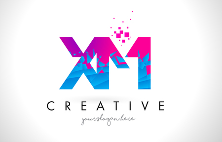 xm: XM X M Letter Logo with Broken Shattered Blue Pink Triangles Texture Design Vector Illustration. Illustration
