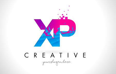 XP X P Letter Logo with Broken Shattered Blue Pink Triangles Texture Design Vector Illustration.