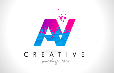 AY A Y Letter Logo with Broken Shattered Blue Pink Triangles Texture Design Vector Illustration.