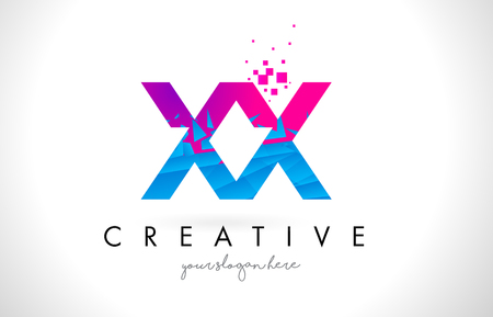 XX X X Letter Logo with Broken Shattered Blue Pink Triangles Texture Design Vector Illustration.