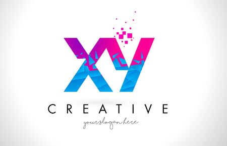 xy: XY X Y Letter Logo with Broken Shattered Blue Pink Triangles Texture Design Vector Illustration.
