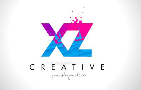 XZ X Z Letter Logo with Broken Shattered Blue Pink Triangles Texture Design Vector Illustration. Illustration