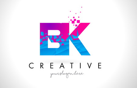 BK B K Letter Logo with Broken Shattered Blue Pink Triangles Texture Design Vector Illustration. Illustration