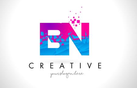 BN B N Letter Logo with Broken Shattered Blue Pink Triangles Texture Design Vector Illustration.