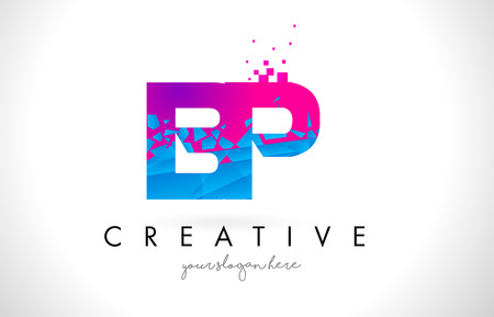 BP B P Letter Logo with Broken Shattered Blue Pink Triangles Texture Design Vector Illustration.