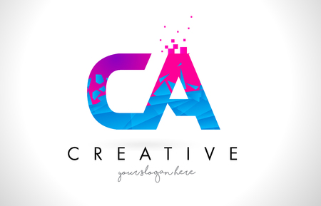 CA C A Letter Logo with Broken Shattered Blue Pink Triangles Texture Design Vector Illustration.