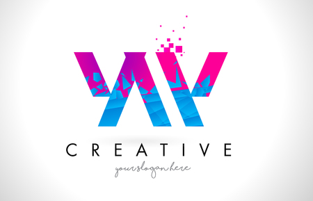 YW Y W Letter Logo with Broken Shattered Blue Pink Triangles Texture Design Vector Illustration. Illustration