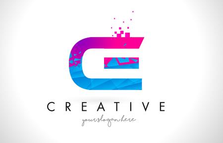 CE C E Letter Logo with Broken Shattered Blue Pink Triangles Texture Design Vector Illustration.