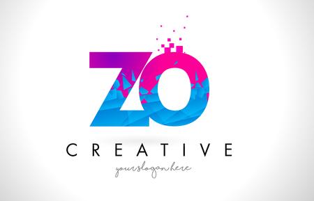 ZO ZO listu logo z Łamającą Zniweczoną błękit menchii trójboków tekstury projekta wektoru ilustracją.