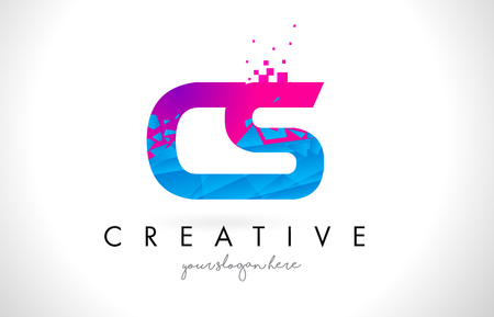 cs: CS C S Letter Logo with Broken Shattered Blue Pink Triangles Texture Design Vector Illustration.